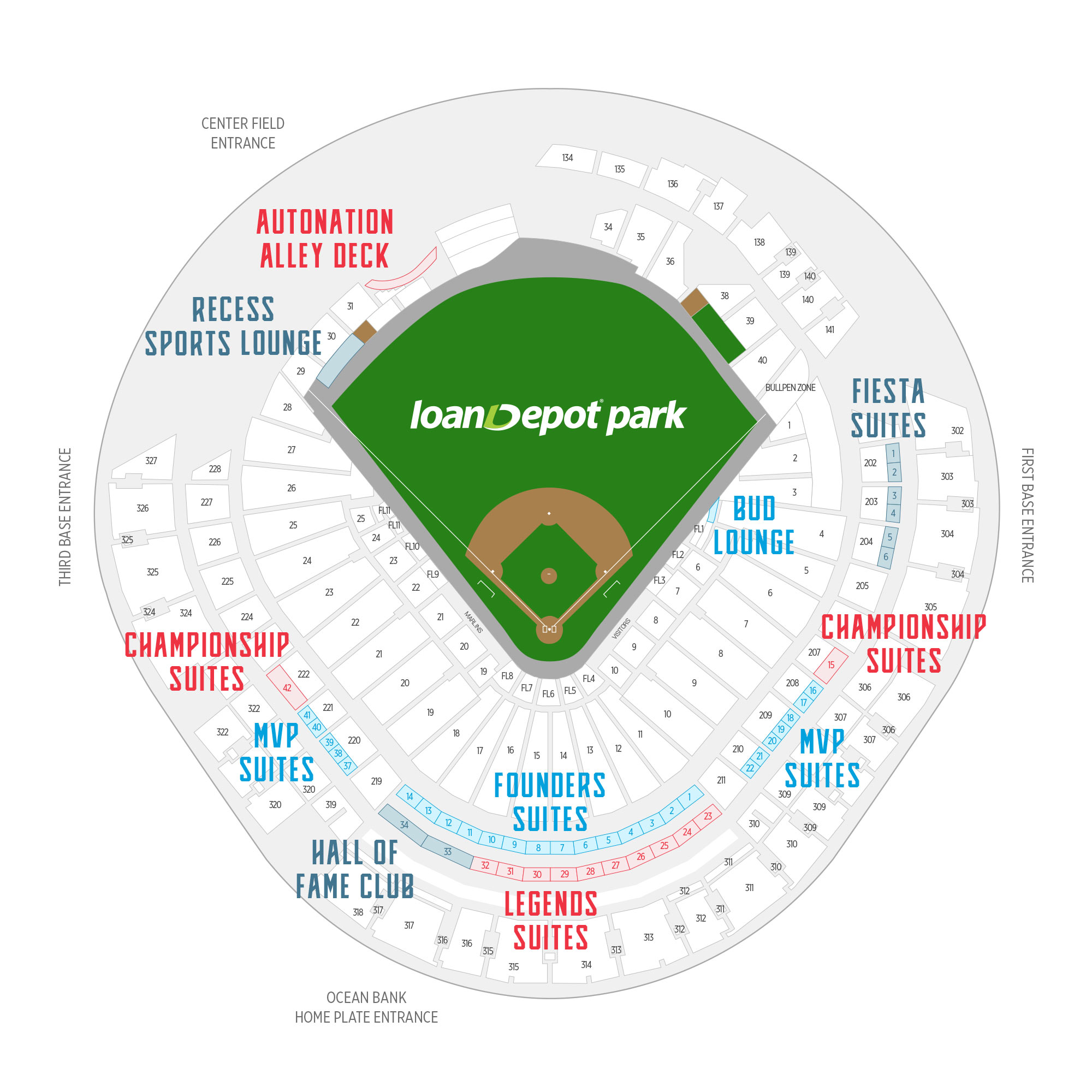 loanDepot park / Miami Marlins Suite Map and Seating Chart